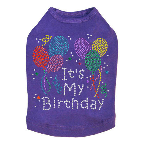 Dog In The Closet It's My Birthday Rhinestone Dog Tank Shirt Purple
