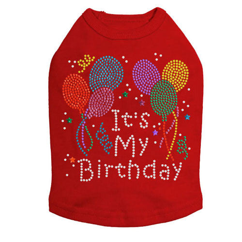Dog In The Closet It's My Birthday Rhinestone Dog Tank Shirt Red