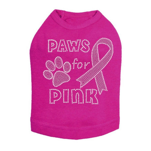 Dog In The Closet Breast Cancer Awareness Pink Ribbon Dog Tank Fucshia