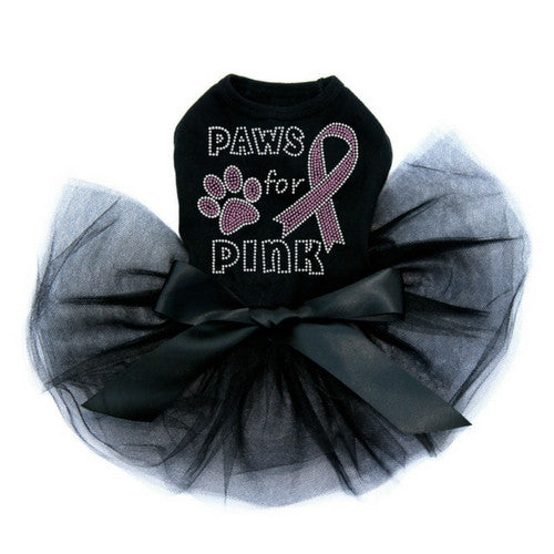 Dog In The Closet Breast Cancer Awareness Paws for Pink Tutu Dog Dress Black