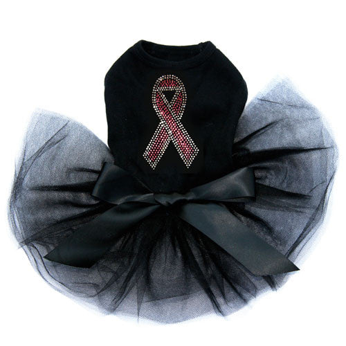 Dog In The Clsoet Breast Cancer Awareness Pink Ribbon Tutu Dog Dress Black