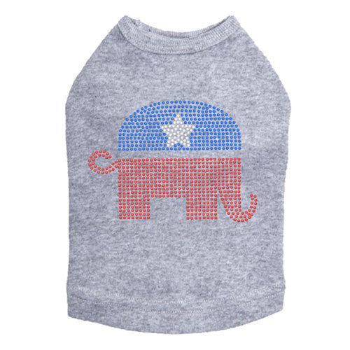 Political Republican Elephant Rhinestone Dog Tank Dog In The Closet Gray