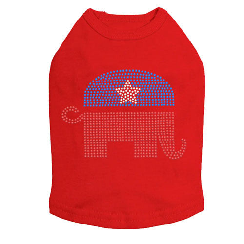 Political Republican Elephant Rhinestone Dog Tank Dog In The Closet Red