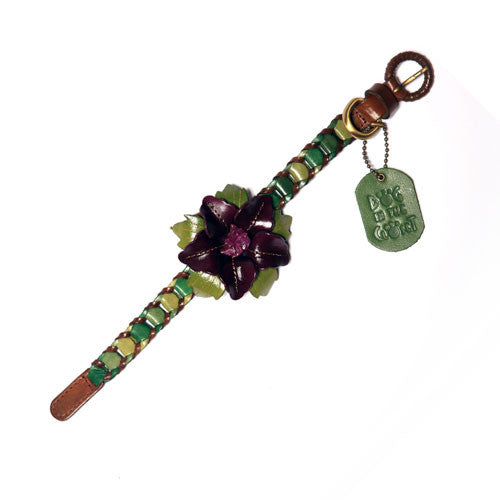 Dog In The Closet Shades of Green Designer Braided Leather Dog Collar with Flower