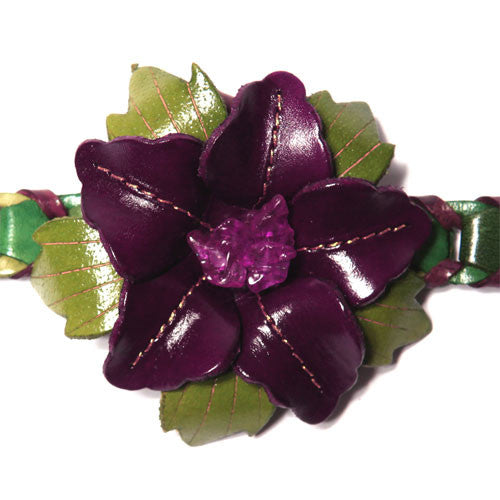 Shades of Green Leather Flower Collar Enhancer