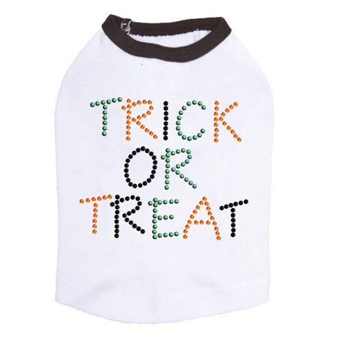 Dog In The Closet Trick or Treat Halloween Rhinestone Dog Tank Shirt