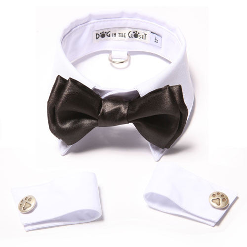 Dog In The Closet Tuxedo White Shirt Collar with Black Bow Tie and Cuffs