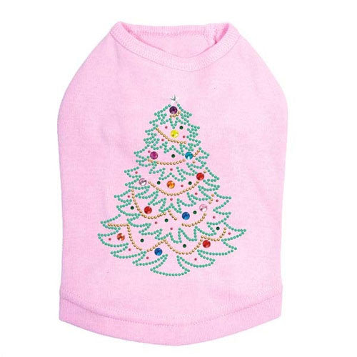 Dog In The Closet Holiday Christmas Tree Rhinestone Designer Dog Tank Pink