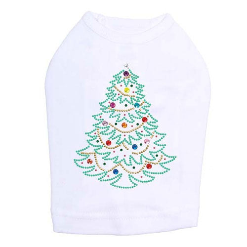 Dog In The Closet Holiday Christmas Tree Rhinestone Designer Dog Tank White