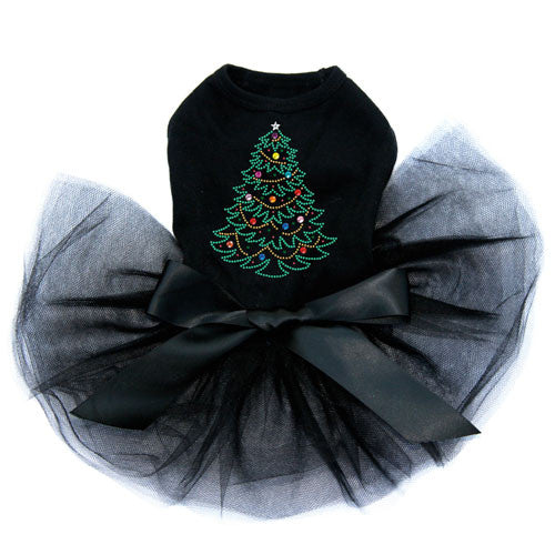 Dog In The Closet Christmas Tree Rhinestone Designer Dog Tutu Dress Black