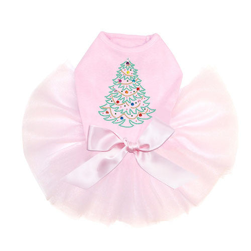Dog In The Closet Christmas Tree Rhinestone Designer Dog Tutu Dress Pink