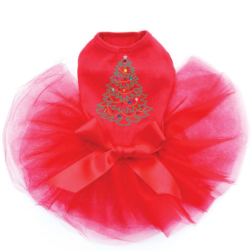 Dog In The Closet Christmas Tree Rhinestone Designer Dog Tutu Dress Red