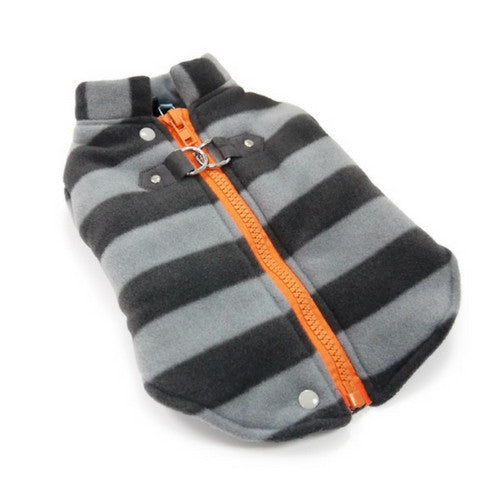Dogo Pet Fashions Active Fleece D-Ring Winter Dog Coat Laying Down View
