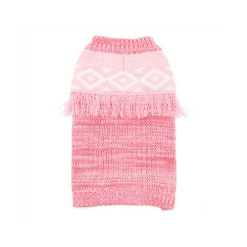 Dogo Pet Fashions Pink Boho Fringe Dog Sweater
