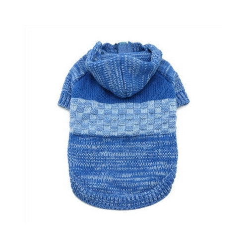 Dogo Pet Fashions Blue Colorblock Hooded Dog Sweater Coat