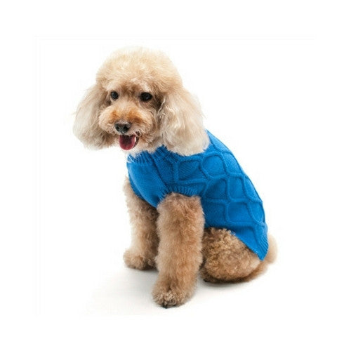 Dogo Pet Fashions Blue Diamond Knit Dog Sweater on Dog
