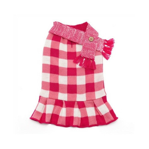 Dogo Pet Fashions Pink Gingham Dog Sweater Dress