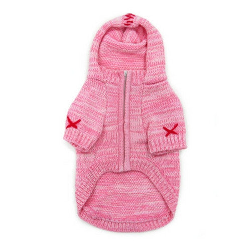 Dogo Pet Fashions Pink Hooded Cashmere Blend Dog Sweater Zippered Front View
