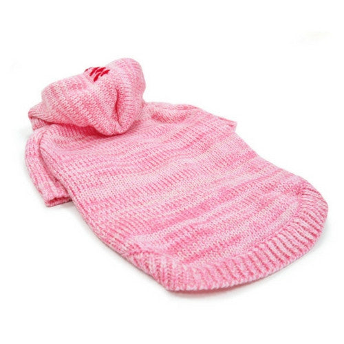 Dogo Pet Fashions Pink Hooded Cashmere Blend Dog Sweater Lying Flat View