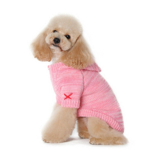 Dogo Pet Fashions Pink Hooded Cashmere Blend Dog Sweater on Dog Side View