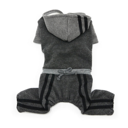 Dogo Pet Fashions Four-Legged Lounge Tracksuit — Gray Back View