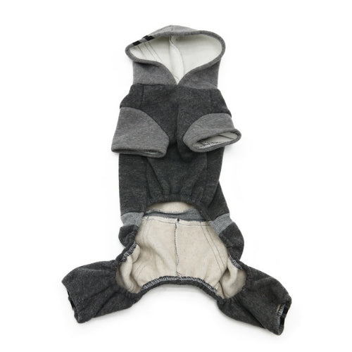 Dogo Pet Fashions Four-Legged Lounge Tracksuit — Gray Front View