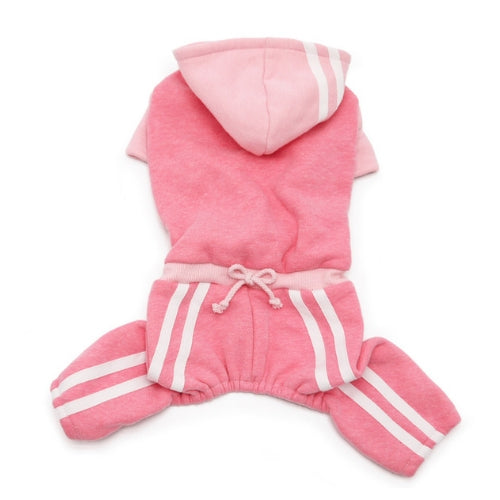 Dogo Pet Fashions Four-Legged Lounge Tracksuit — Pink Back View