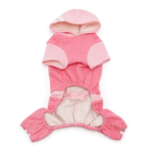 Dogo Pet Fashions Four-Legged Lounge Tracksuit — Pink Front View