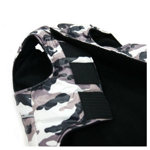 Dogo Pet Fashions Puppy PAWer Camo Sport Puffer Winter Dog Coat Close up View