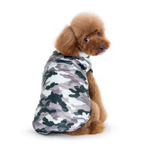 Dogo Pet Fashions Puppy PAWer Camo Sport Puffer Winter Dog Coat on Dog Back View