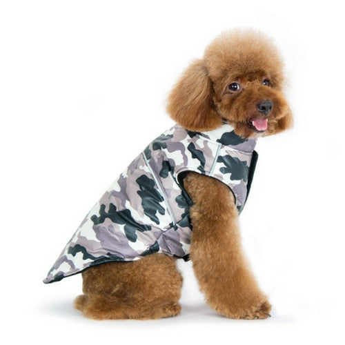 Dogo Pet Fashions Puppy PAWer Camo Sport Puffer Winter Dog Coat on Dog Side view