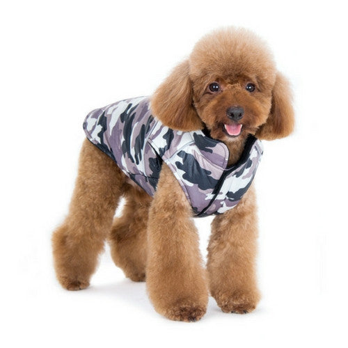 Dogo Pet Fashions Puppy PAWer Camo Sport Puffer Winter Dog Coat on Dog Front View