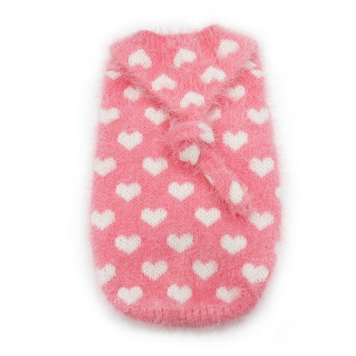 Dogo Pet Fashions PUPPYPAWer Fuzzy Pink Heart Hoodie Dog Sweater