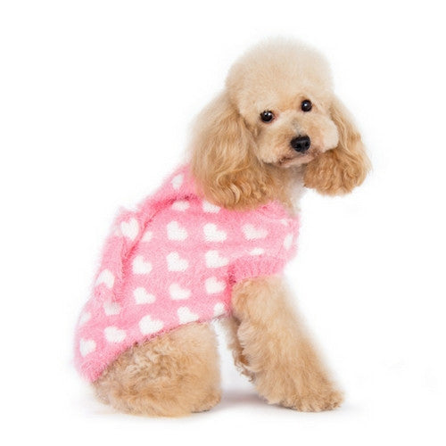 Dogo Pet Fashions PUPPYPAWer Fuzzy Pink Heart Hoodie Dog Sweater on Dog Side View