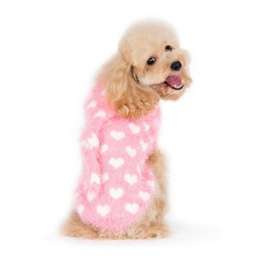 Dogo Pet Fashions PUPPYPAWer Fuzzy Pink Heart Hoodie Dog Sweater on Dog Back View