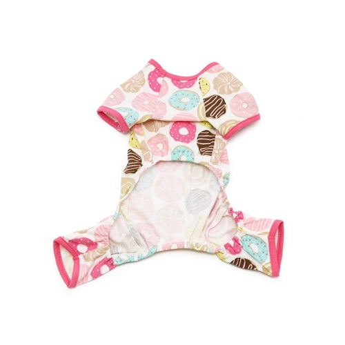 Dogo Pet Fashions Donuts PJ Four-Leg Dog Pajamas Front View