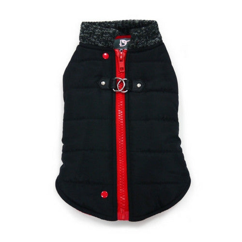 Dogo Pet Fashions Black Runner Winter Dog Coat  Back view