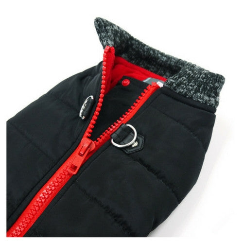 Dogo Pet Fashions Black Runner Winter Dog Coat Close up View