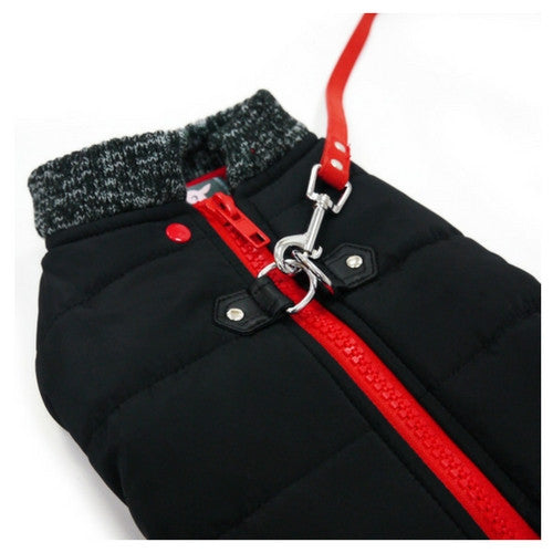 Dogo Pet Fashions Black Runner Winter Dog Coat Close up View Leash Attached
