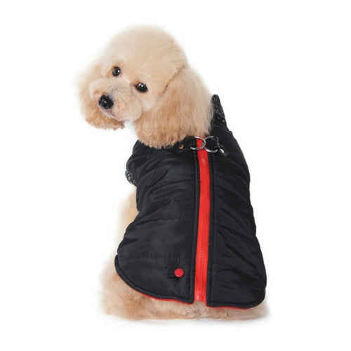 Dogo Pet Fashions Black Runner Winter Dog Coat on Dog Back view