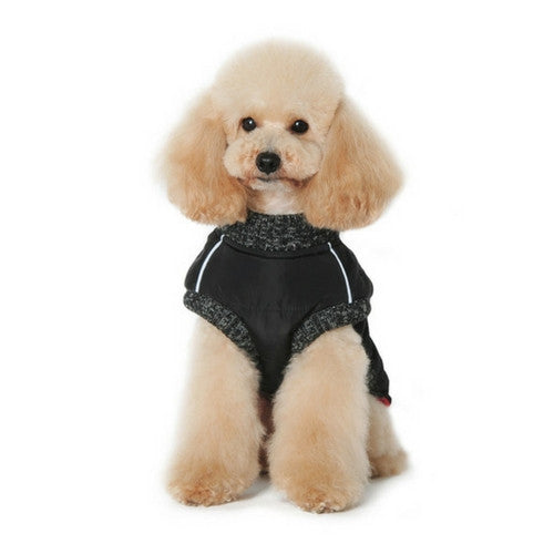 Dogo Pet Fashions Black Runner Winter Dog Coat on Dog Front View