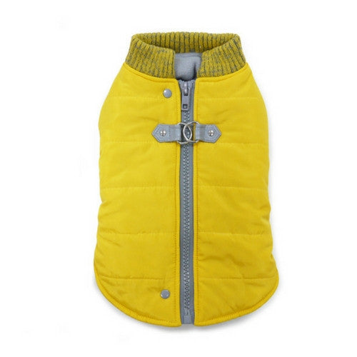 Dogo Pet Fashions Yellow Athletic Runner Winter Dog Coat Back View