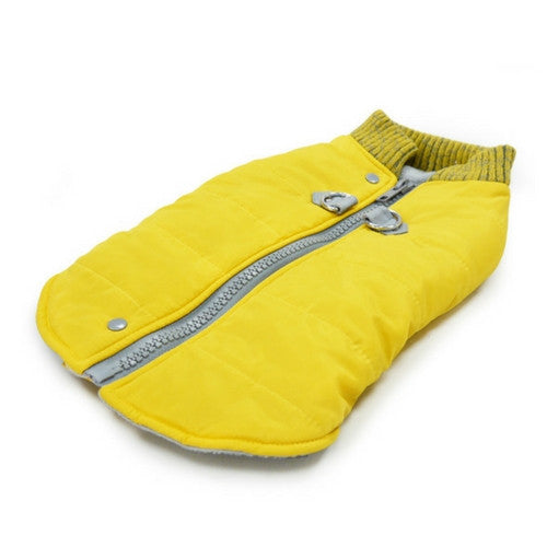 Dogo Pet Fashions Yellow Athletic Runner Winter Dog Coat Laying Flat View