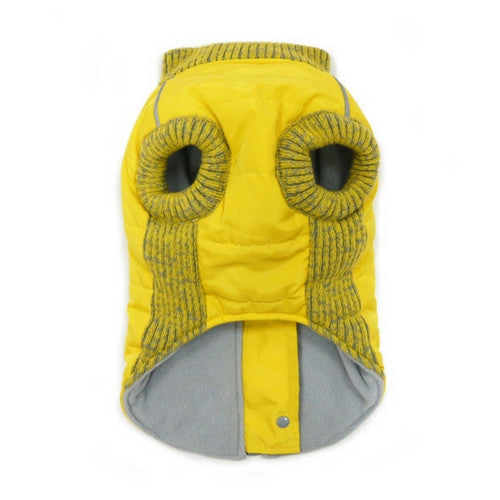 Dogo Pet Fashions Yellow Athletic Runner Winter Dog Coat  Front View