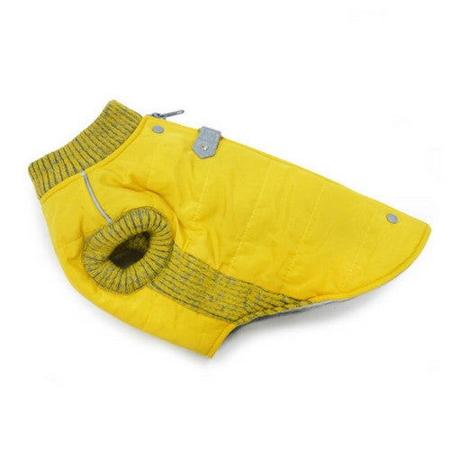 Dogo Pet Fashions Yellow Athletic Runner Winter Dog Coat  Side View