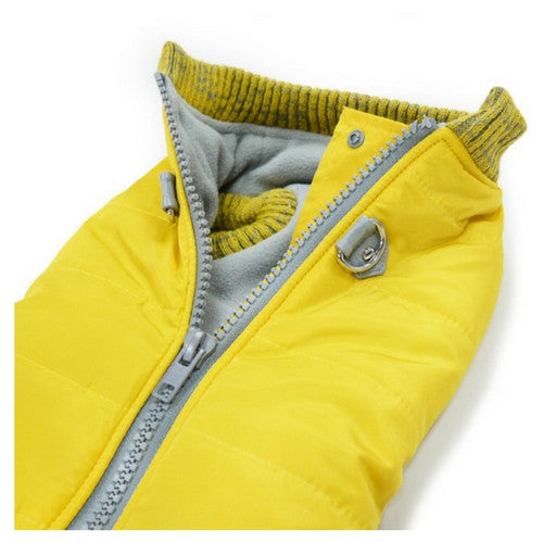 Dogo Pet Fashions Yellow Athletic Runner Winter Dog Coat Close up View