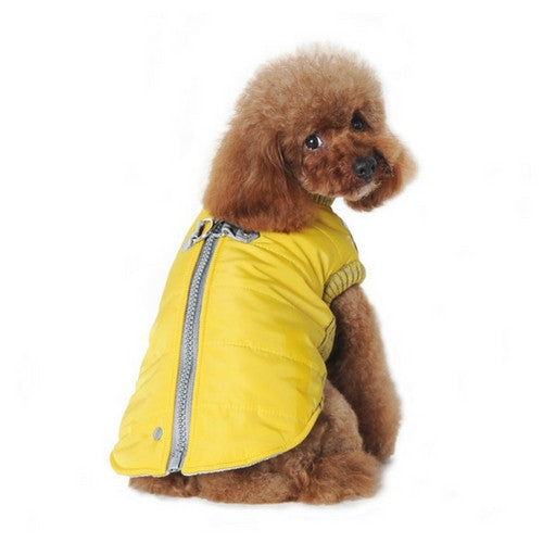 Dogo Pet Fashions Yellow Athletic Runner Winter Dog Coat on Dog Back View