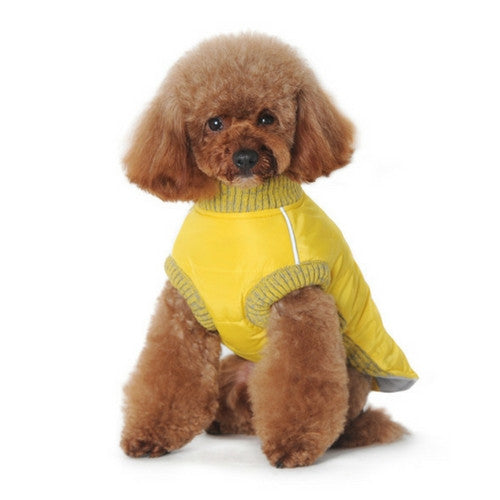 Dogo Pet Fashions Yellow Athletic Runner Winter Dog Coat on Dog Front View