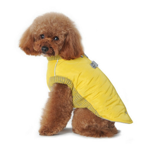 Dogo Pet Fashions Yellow Athletic Runner Winter Dog Coat on Dog Side View