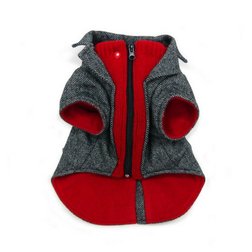 Dogo Pet Fashions Tweed Blazer Winter Dog Coat Front View